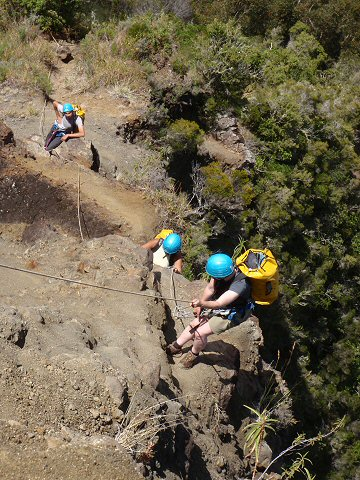 The 'via ferrata' return ascent from the Fleurs Jaunes canyon in La Reunion.