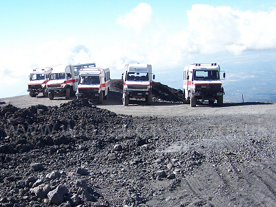 Jeeps parked at Picolo Rifugio on Mount Etna - Sept. 2007