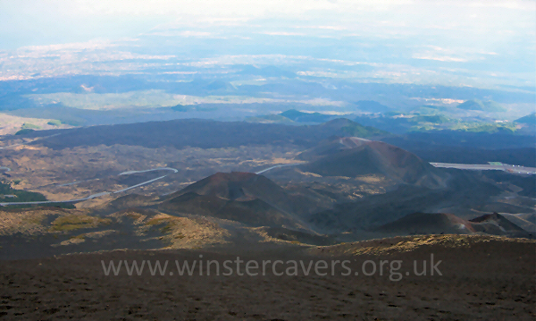 Looking down from La Montagnola to the Silvestri Craters - Sept. 2007