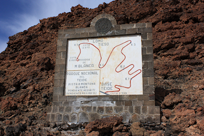 The sign at the start of the Montana Blanca walk, Mount Teide, Tenerife