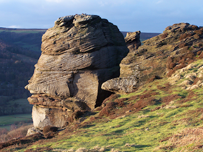 Gritstone outcrops at Higger Tor near Hathersage, Derbyshire