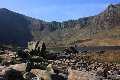 Looking across Llyn Idwal toward the Devil's Kitchen ascent route for Glyder Fawr