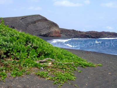 The black sand beach at the end of the 'Road to the Sea'