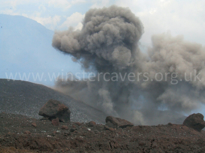 Ash Eruption from Mount Etna - June 2008