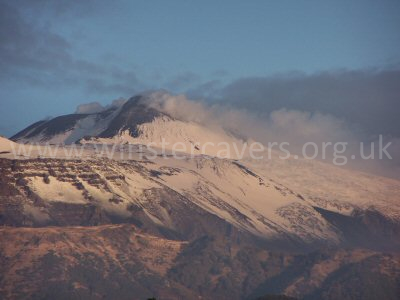 Mount Etna at sunrise with fresh snowfalls from the previous night, from Viagrande - November 2004