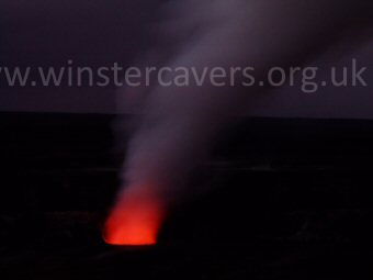 The glowing vent at Halema'uma'u, Volcanoes National Park, Hawaii