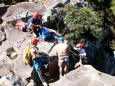 Getting ready to start the descent of the Grande Ravine, Ile de la Reunion, September 2009