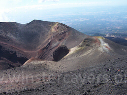 Looking down to the twin craters at Monte Frumento Supino near the summit of Mount Etna, Sicily
