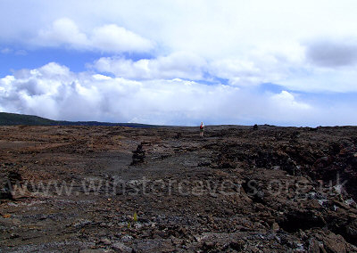 Hiking across the immense lava fields on the Napau Crater Trail, Big Island,Hawaii.