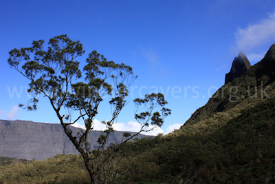 First views of the Cirque de Mafate, looking towards La Nouvelle and Roche Plate, Ile de la Reunion, September 2009