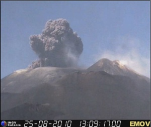 Ash eruption on Mount Etna on 25th August 2010 - image from one of the INGV