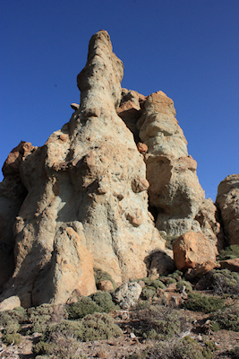 Amazing sculptured and eroded rocks at Los Roques de Garcia, Mount Teide, Tenerife, January 2011